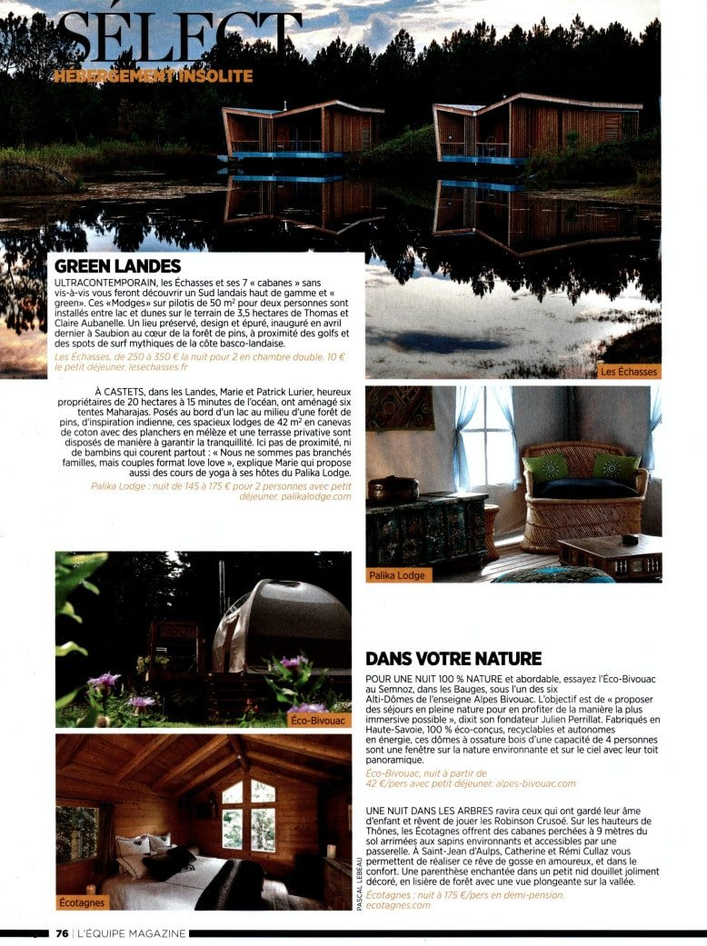 équipe Magazine Ecolodge Les Echasses