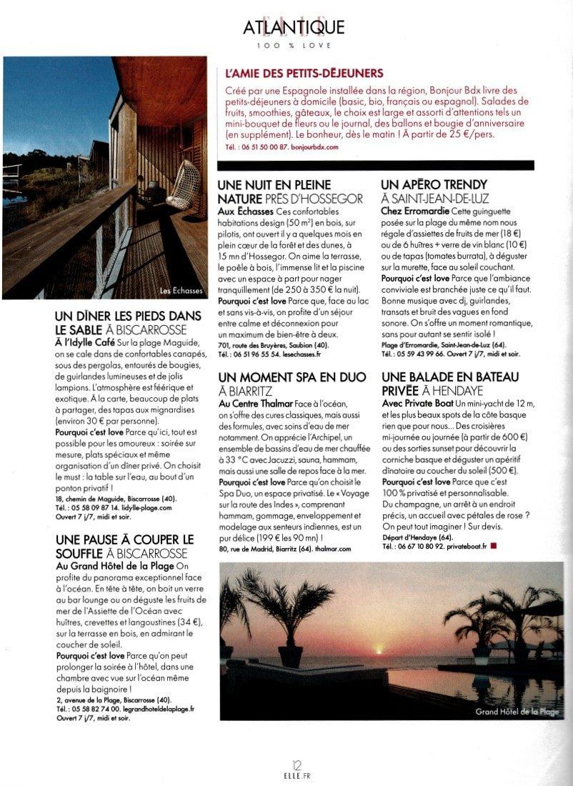 Elle Magazine Ecolodge Les Echasses