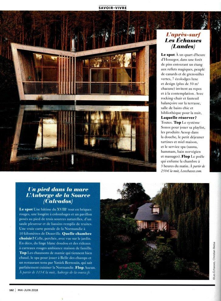 Glamour Magazine Ecolodge Les Echasses